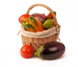 A basket of healthy vegetables for dinner