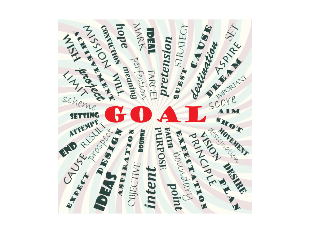 Words about setting goals arrranged in a circle around the work GOAL.